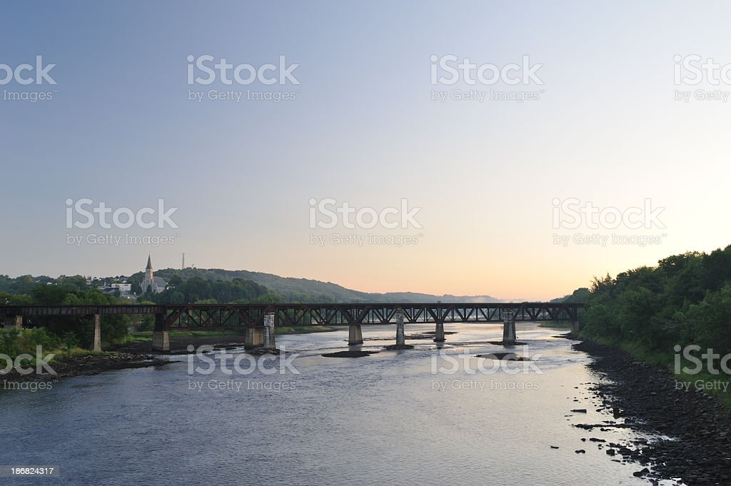 Kennebec River in Augusta of Maine at Dawn stock photo