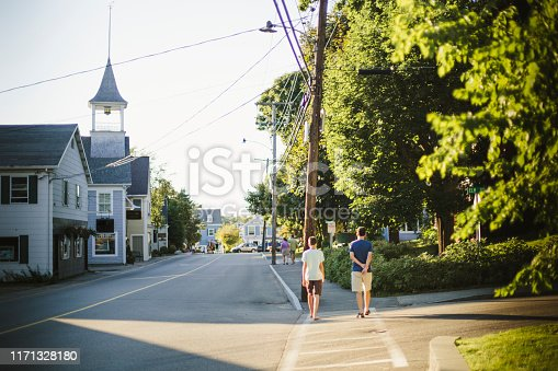Kennebunk port, Maine, small town, city street