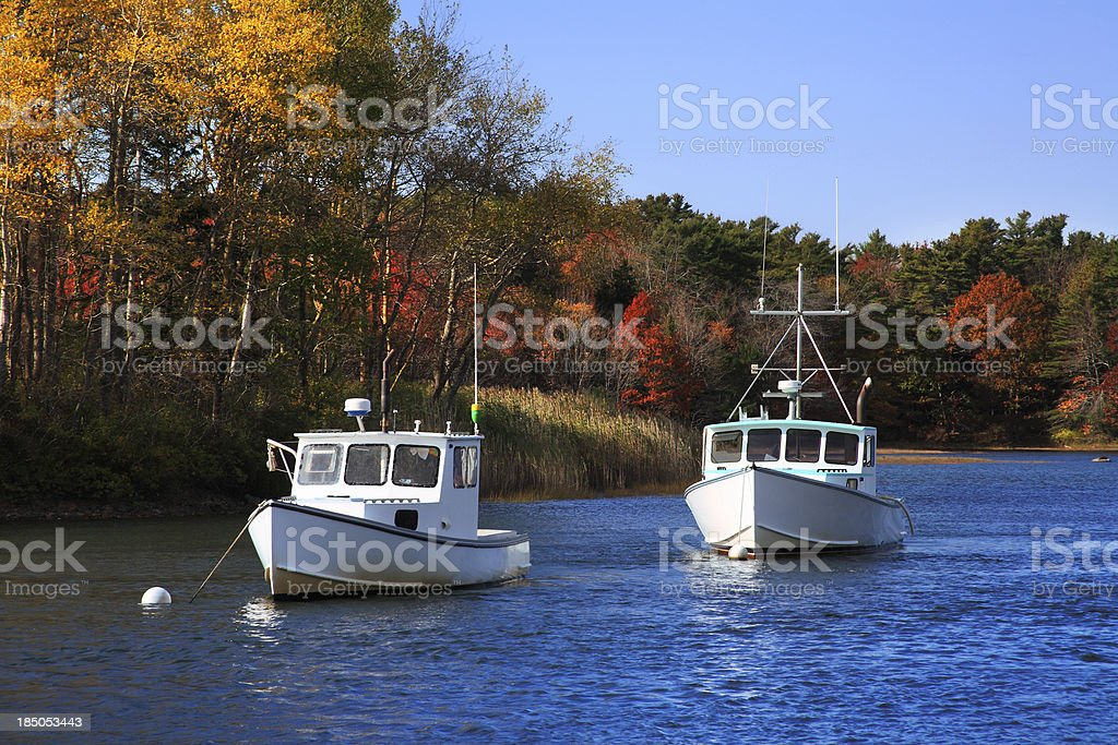 Kennebunkport Harbor Boats stock photo