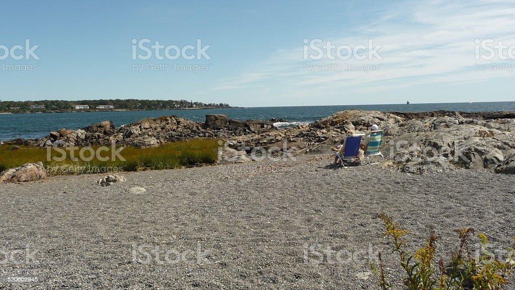 Kennebunkport, Maine Beach and Rocks stock photo