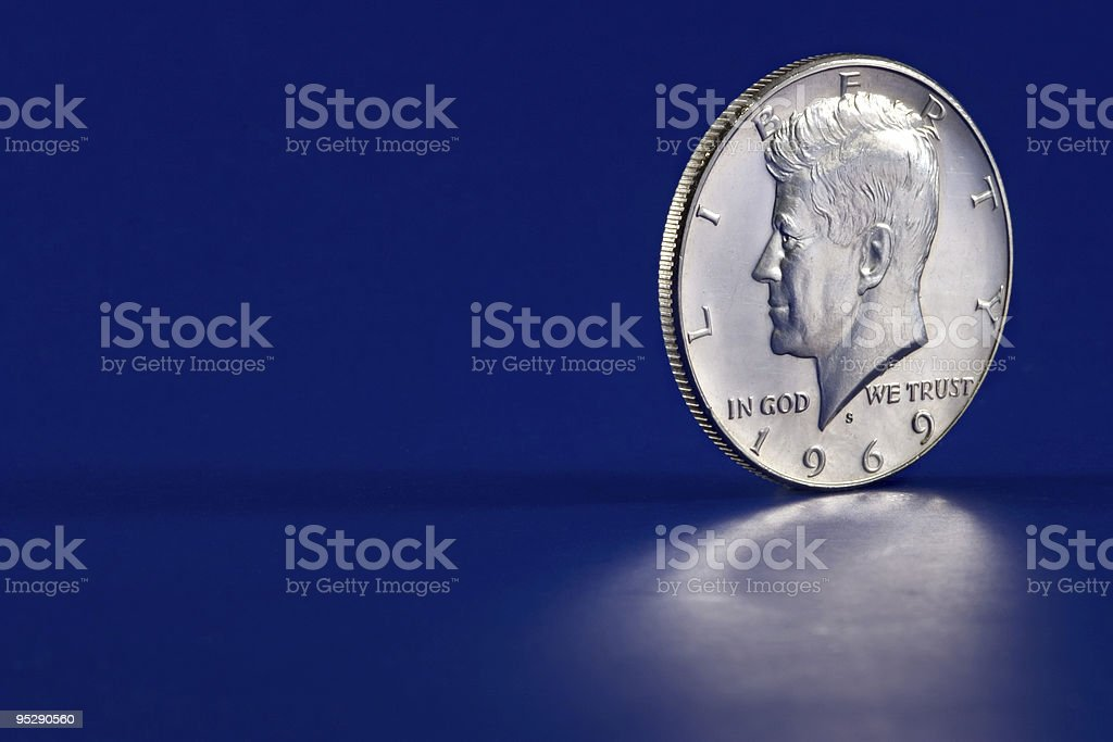 Kennedy Half Dollar 1969 Coin, Blue Background stock photo
