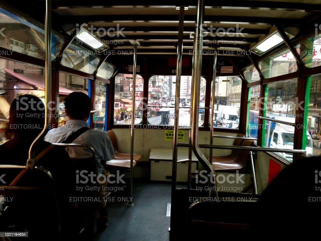 Kennedy Road Tram Hong Kong stock photo