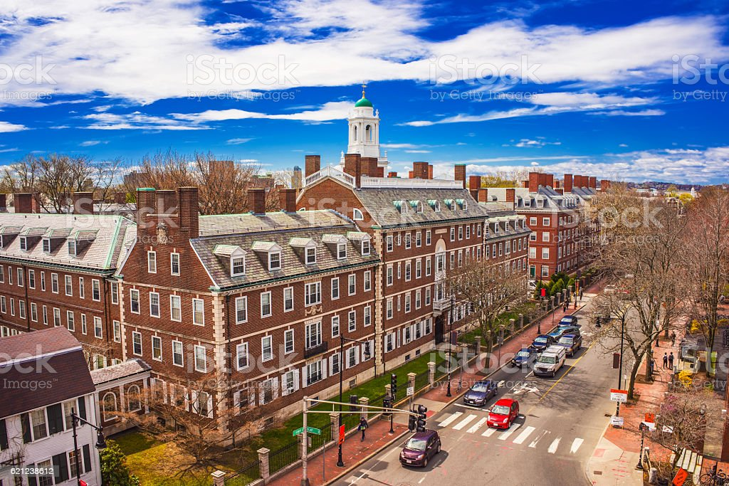 Kennedy Street and Eliot House belltower at Harvard University stock photo