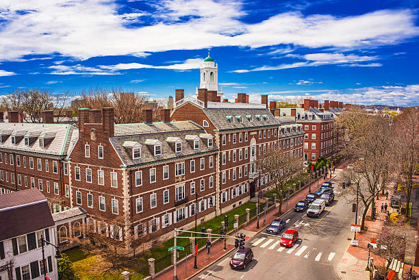 Kennedy Street and Eliot House belltower at Harvard University Aerial view on John Kennedy Street in the Harvard University Area in Cambridge, Massachusetts, the USA. Eliot House white belltower seen on the background. Tourists in the street harvard university stock pictures, royalty-free photos & images
