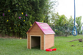 Kennel on grass in the garden