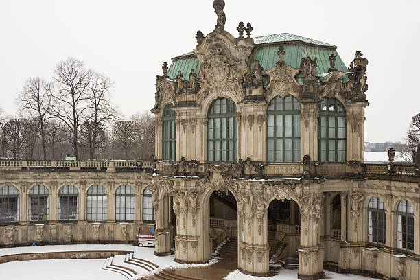Zwinger Zwinger, Dresden, Germany. Light snow shower zwanger stock pictures, royalty-free photos & images
