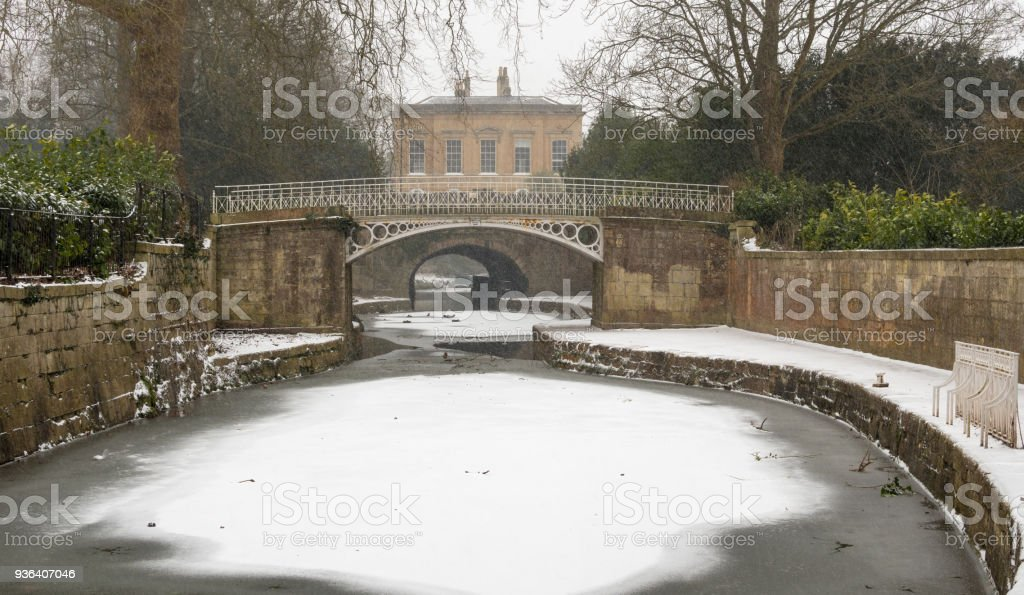 Kennet and Avon Canal frozen in Bath stock photo