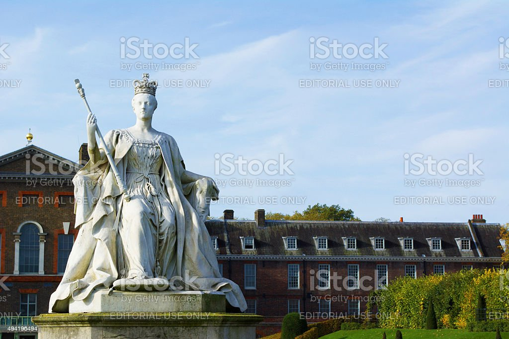 Kensington Palace and Gardens with Queen Victoria Statue stock photo