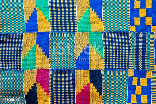Full Frame shot of Kente Cloth which is a textile from Ghana Africa different colors and patterns have different symbolic meanings