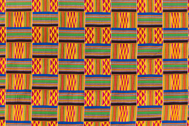 kente cloth texture. - african culture stock photos and pictures