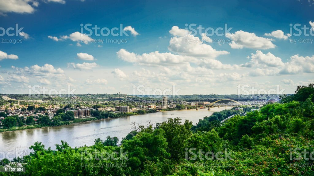Kentucky City and Ohio River stock photo