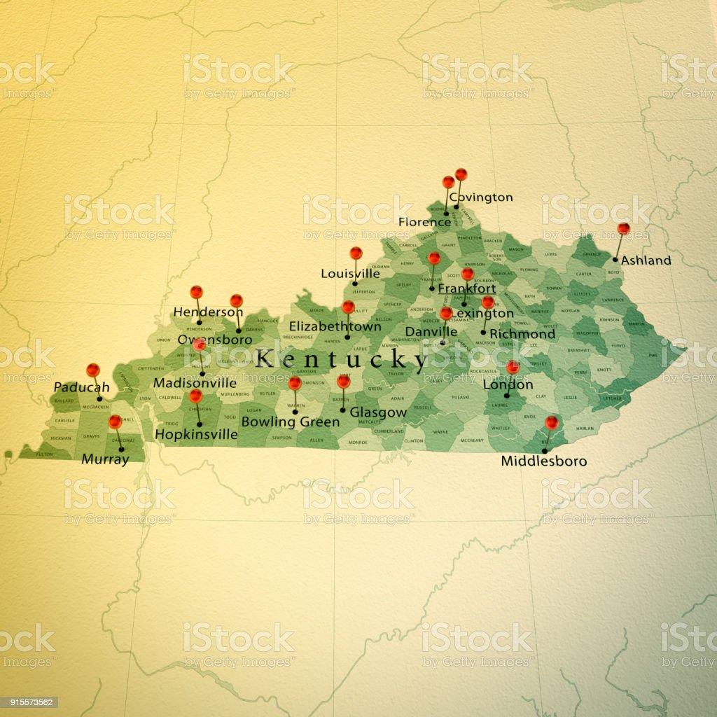 Kentucky Karte Platz Städte Zylinderstift Vintage Stock-Fotografie ...