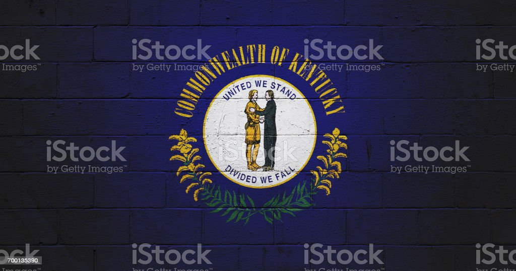 Kentucky state flag painted on a wall stock photo