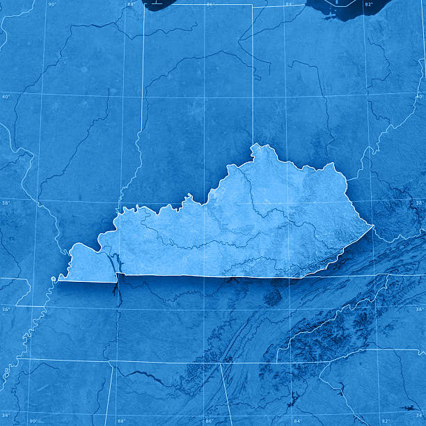 kentucky topographic map - tennessee map stock photos and pictures
