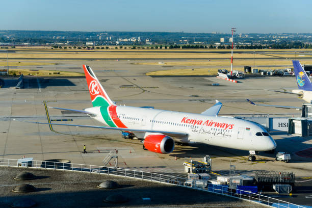 Kenya Airways Boeing 787 at Roissy Airport, France CIRCA AUGUST 2015 - ROISSY-EN-FRANCE: A Kenya Airways Boeing 787-8 at Paris Charles de Gaulle Airport. val d'oise stock pictures, royalty-free photos & images