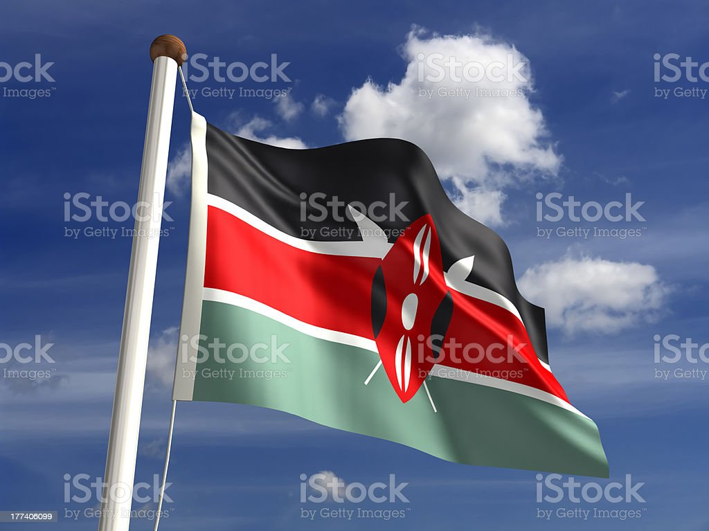 Kenya flag (with clipping path) royalty-free stock photo