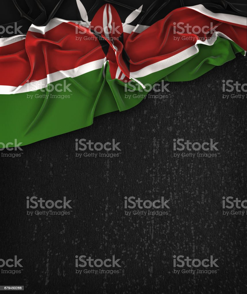 Kenya Flag Vintage on a Grunge Black Chalkboard With Space For Text royalty-free stock photo