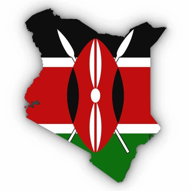 Kenya Map Outline with Kenyan Flag on White with Shadows 3D Illustration stock photo