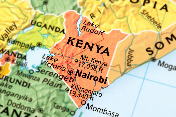 Kenya Map of Kenya. A detail from the World Map. east africa stock pictures, royalty-free photos & images