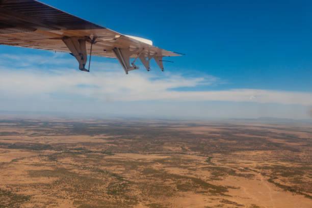 Kenya - The Masai Mara Viewed From A Small Airplane stock photo
