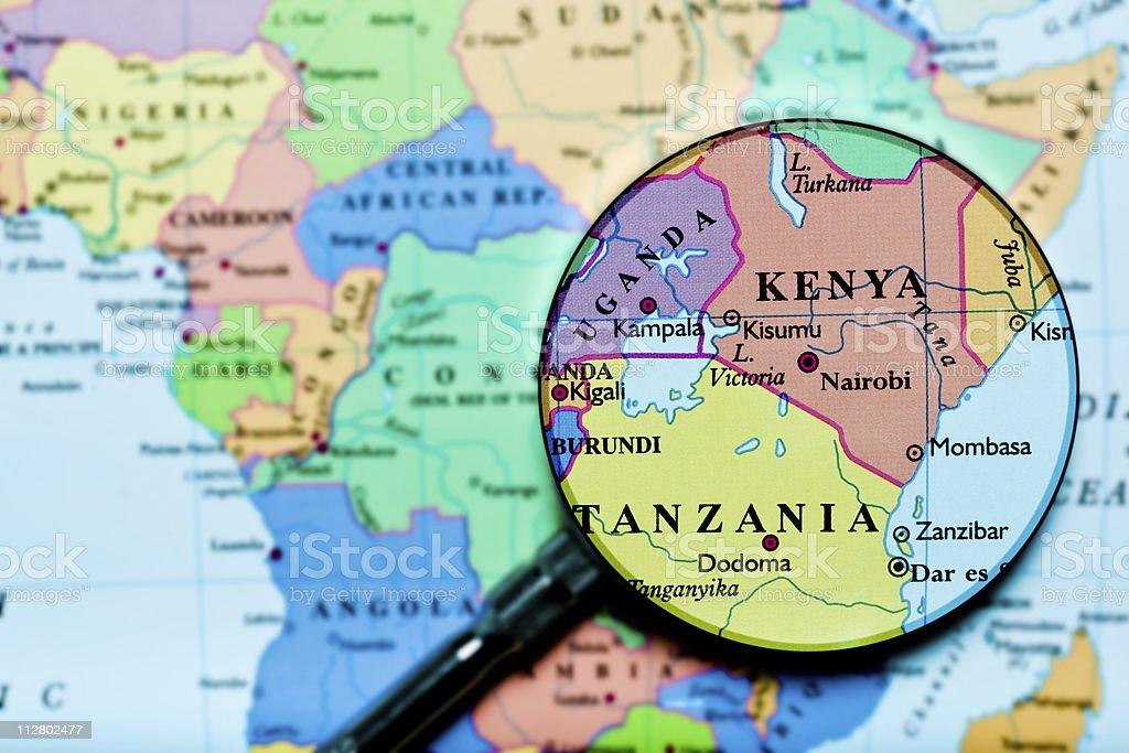 Kenya Uganda Tanzania under loupe stock photo