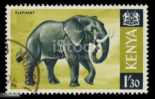 1966 Kenya postage stamp of an elephant. Canon 40D with 100mm macro; no sharpening.