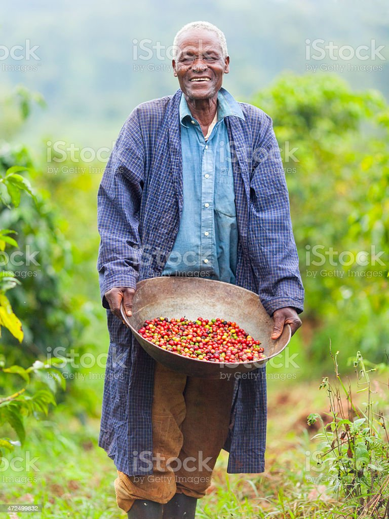Kenyan Fair Trade Coffee Farmer stock photo
