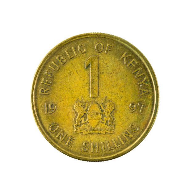 1 Kenia-Schilling-Münze (1987) Vorderseite isoliert auf weißem Hintergrund – Foto