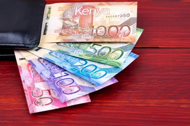 Kenianische Schilling im schwarzen Portemonnaie – Foto