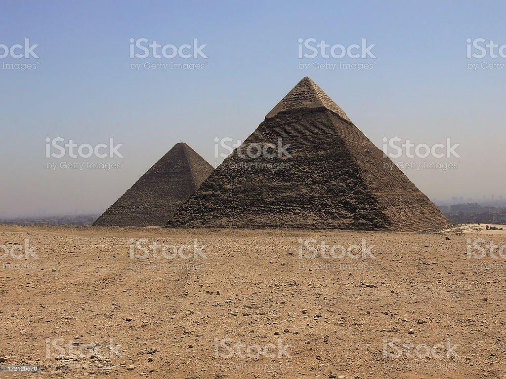 Keops and Micerinos Pyramids 2 royalty-free stock photo