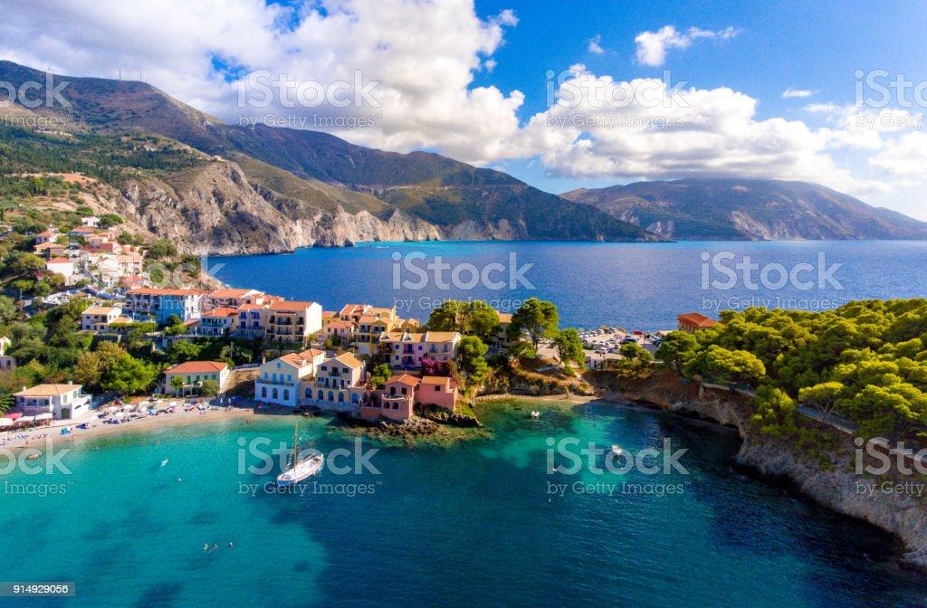 Kephalonia Village Assos in Greece stock photo