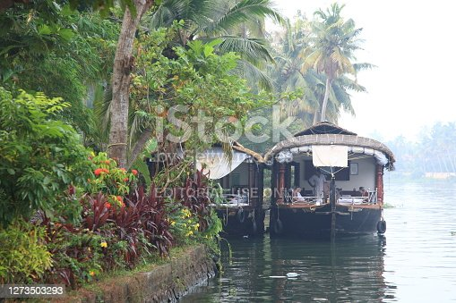 Alleppey, Kerala, India - Jan 24, 2017:  Kerala backwaters cruise tourists enjoying a leisure morning on Houseboat in Alleppey, Kerala, India