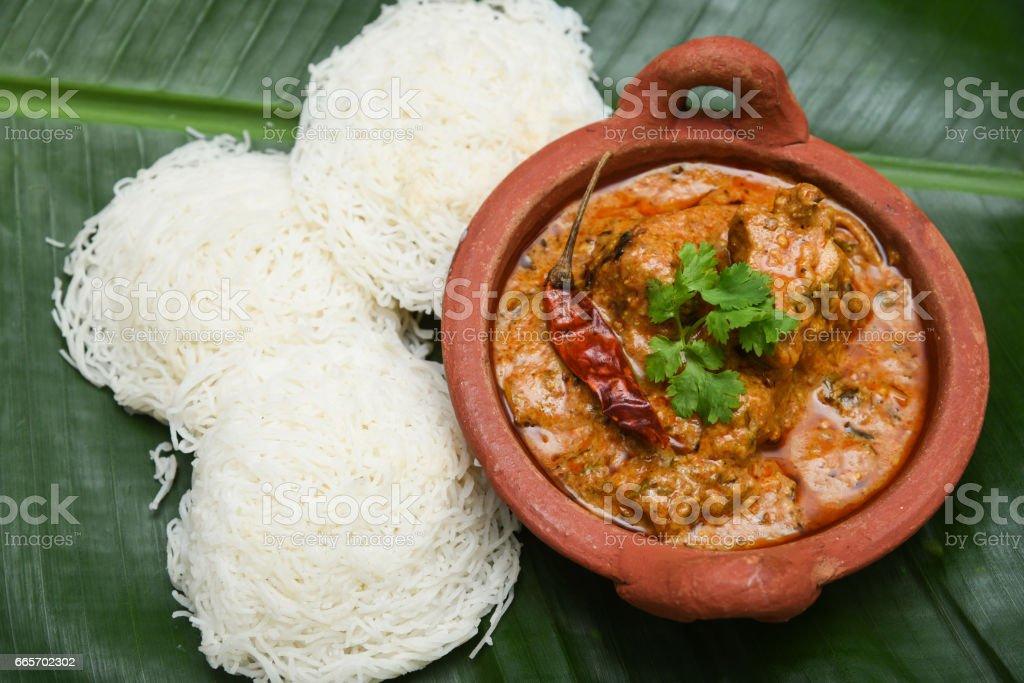 Kerala breakfast Idiyappam or Appam stock photo
