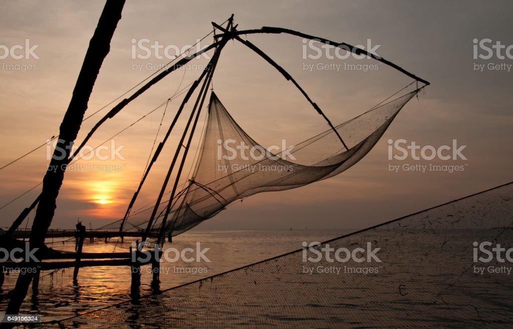 Kerala fishing nets in Indian Kochin city stock photo