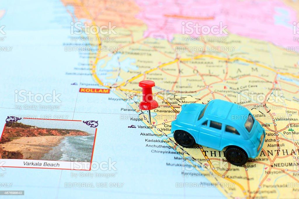 Kerala map detail - concept of car journey  to Varkala stock photo