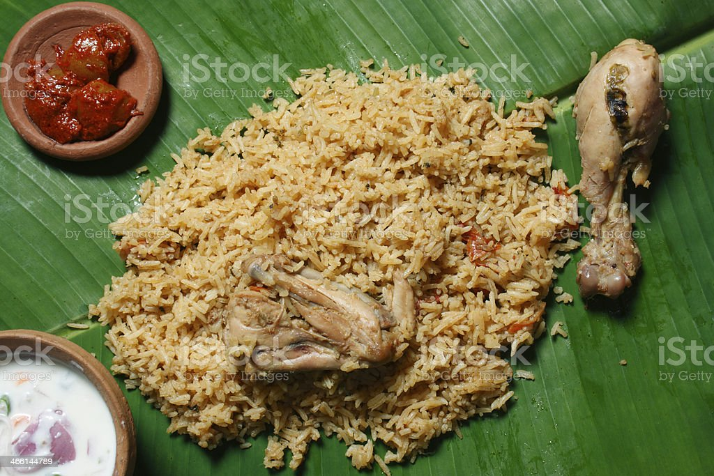 Kerala Style Biryani - Biriyani made with Fried Chicken/Mutton a stock photo