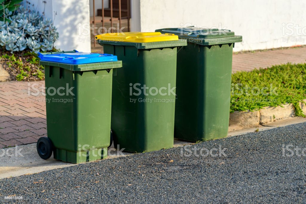 Kerbside bins ready for collection stock photo