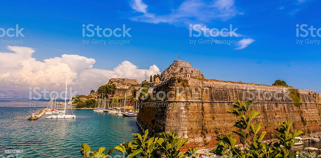 Kerkira fortress stock photo