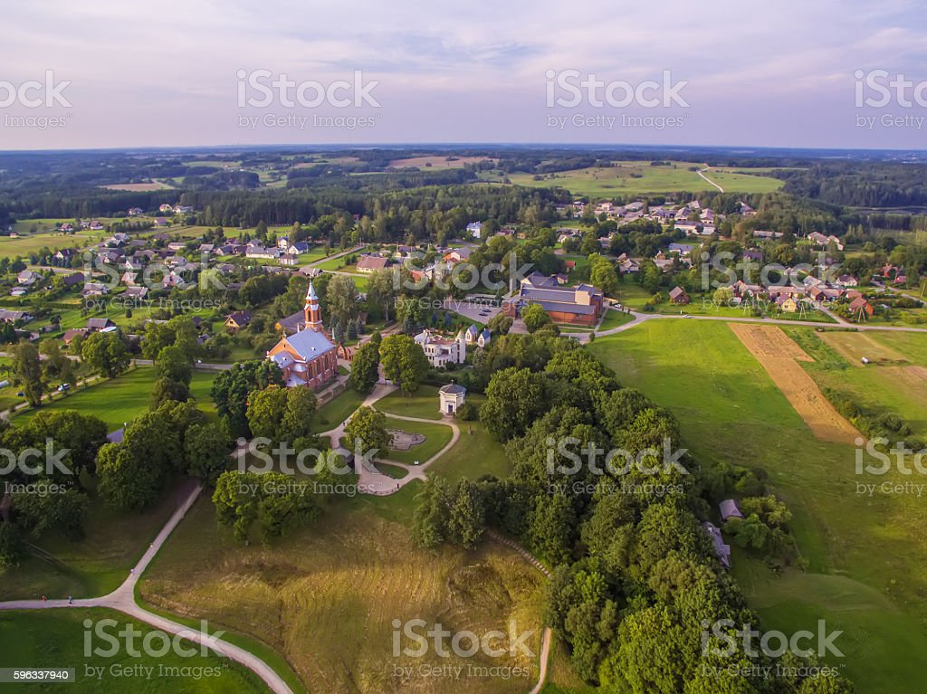 Kernave, historical capital city of Lithuania, aerial top view royalty-free stock photo