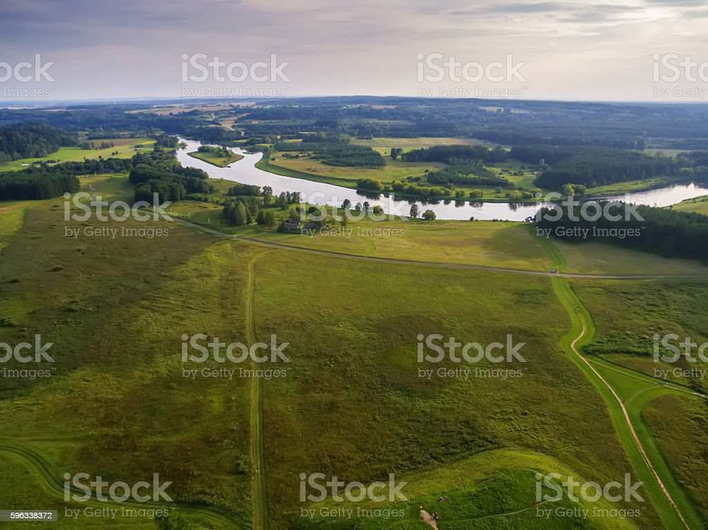 Kernave, historical capital city of Lithuania, aerial top view Lizenzfreies stock-foto