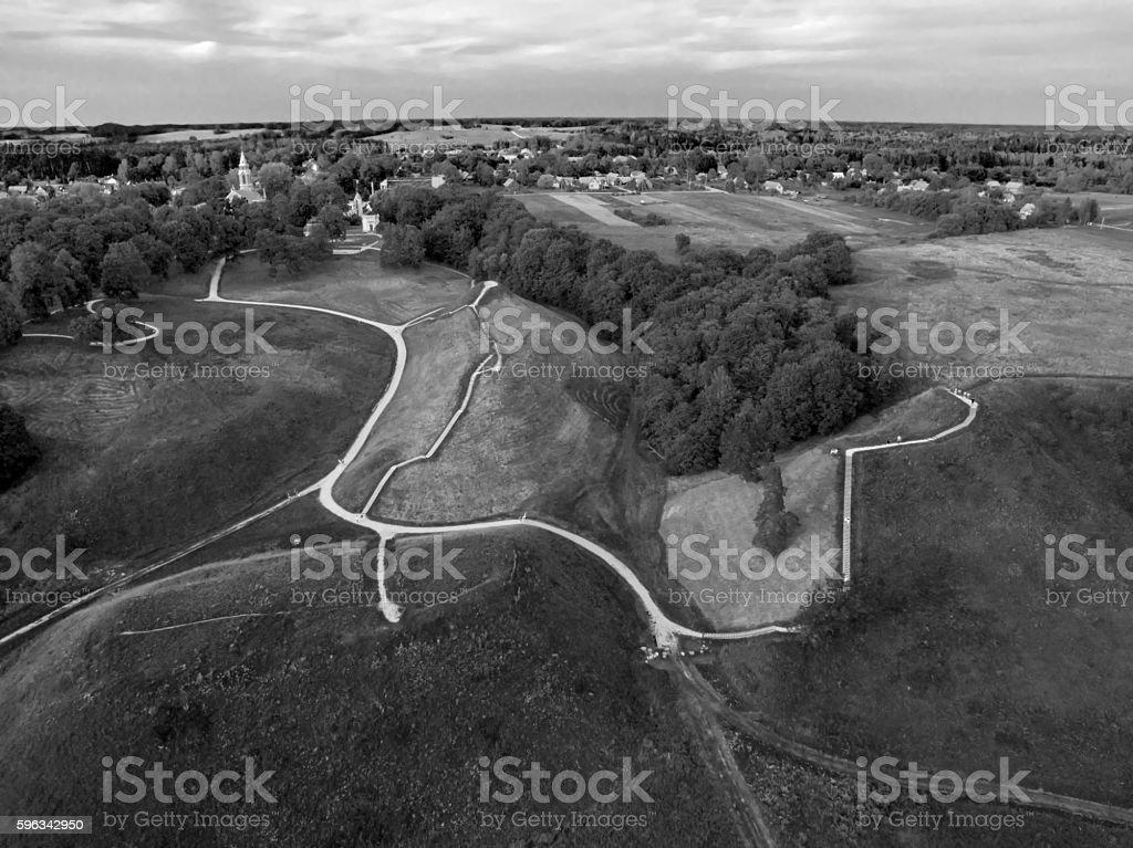 Kernave, historical capital city of Lithuania, aerial top view Lizenzfreies stock-foto