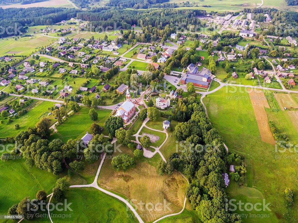 Kernave, historical capital city of Lithuania, flat lay, top view Lizenzfreies stock-foto