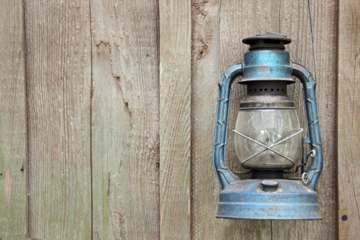 Kerosene Lantern on Barn