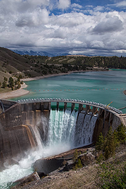 kerr dam near polson, montana - hydroelectric power stock photos and pictures