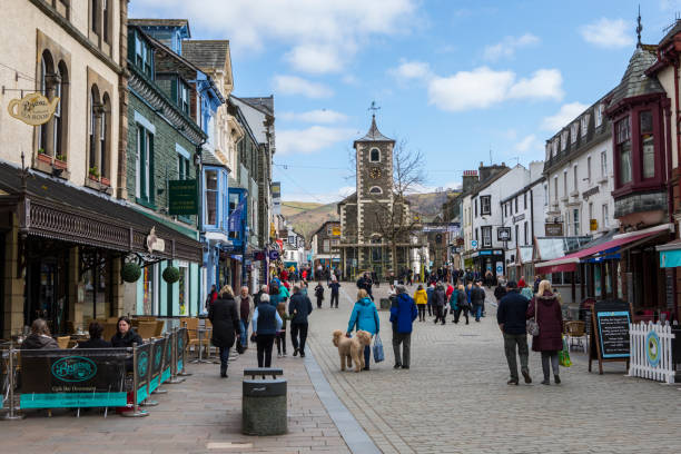 Keswich town centre in the Lake District, UK stock photo