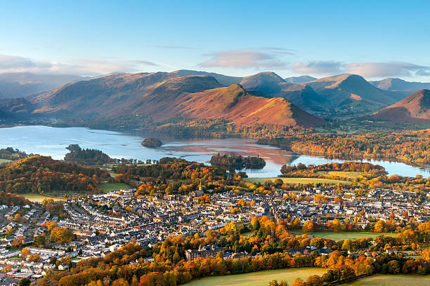 Keswick and Derwent Water, Lake District stock photo