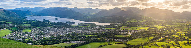 Keswick and Derwentwater panorama. stock photo