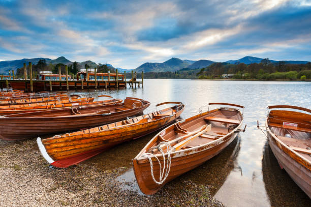 Keswick Boats, Derwentwater, Lake District stock photo