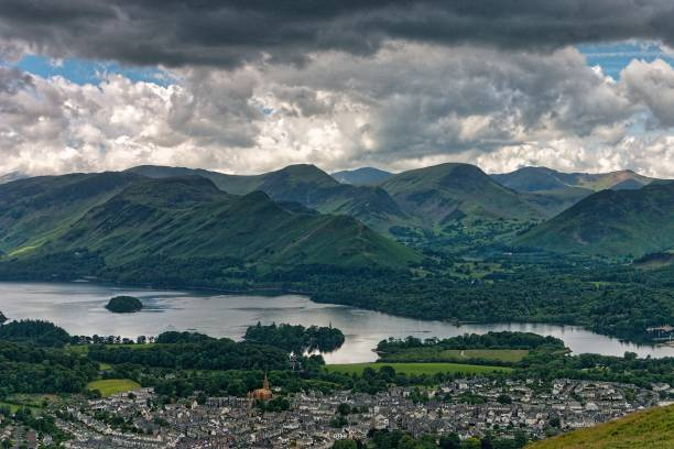Keswick, Derwent Water and the North Western Fells stock photo