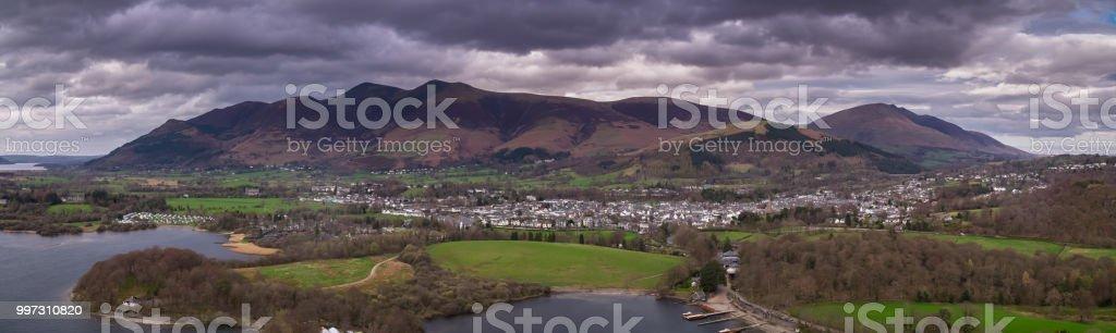Keswick, England - Aerial Panorama stock photo